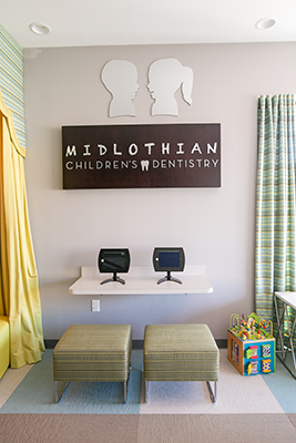 Midlothian Pediatric Dentist Waiting area and sign